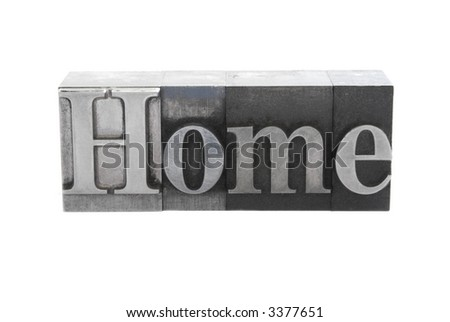 old letterpress metal type letters form the word 'Home', isolated on white