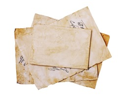 Old letters and blank paper sheets isolated on white