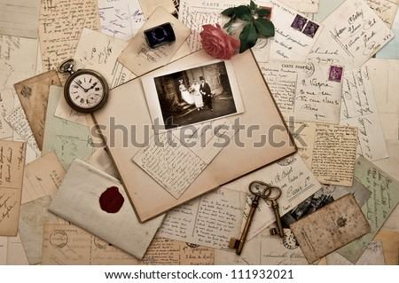 old letters photographs and post cards nostalgic vintage wedding background