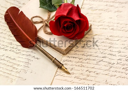 Old Letters, Rose Flower And Antique Feather Pen. Romantic Vintage Background. Retro Style Dark Toned Picture. Selective Focus