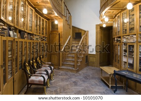 Old library with wood shelves