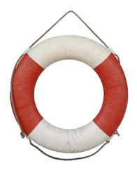 Old lifebuoy isolated on white with Clipping Path