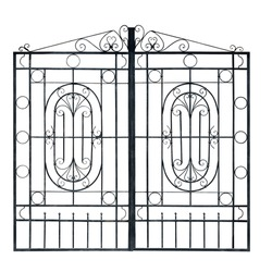 Old  light  forged  decorative gates.  Isolated over white background.