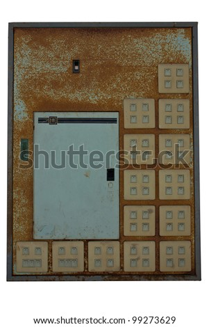 Old light switches in the white background.