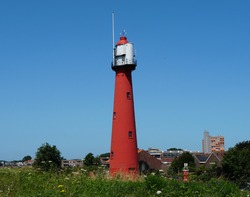 Old lighthouse built in 1893 in the city of Hook of Holland (Dutch: Hoek van Holland), part of Rotterdam.