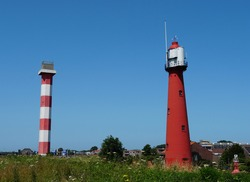 Old lighthouses (one built in 1893) in the city of Hook of Holland (Dutch: Hoek van Holland), part of Rotterdam.