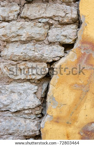 Old limestone and plaster wall
