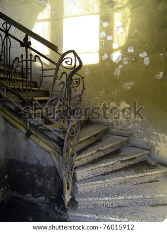 Old limestone stairs in the very old house