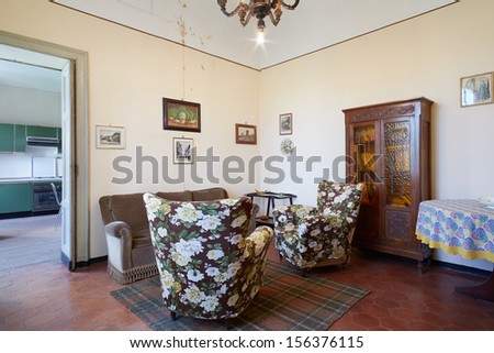 Old living room in country house