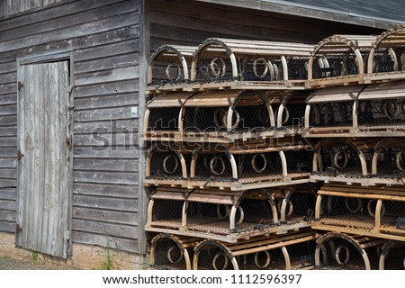 old lobster traps  stacked ...