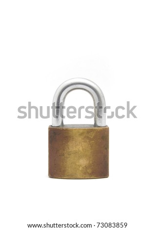 old Lock isolated on white