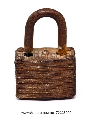 old lock (unlock) isolated on white background - stock photo