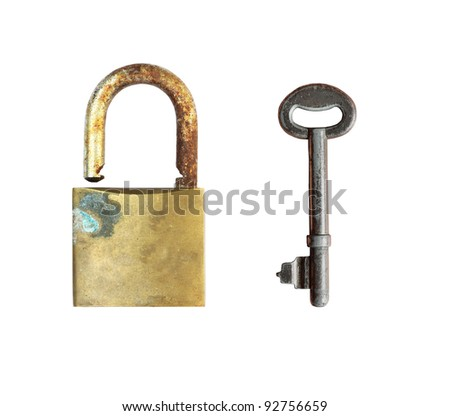Old lock with vintage key on white background, clipping path