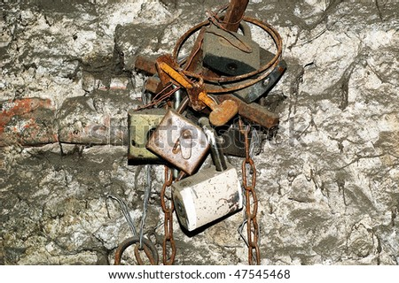 Old locks - stock photo
