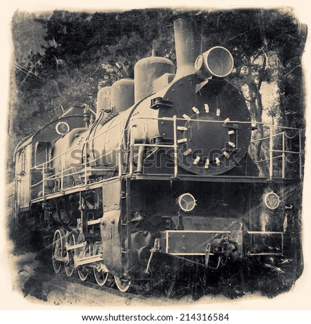 Old locomotive in retro black and white design, vintage stylized