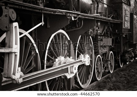 old locomotive in warm black and white