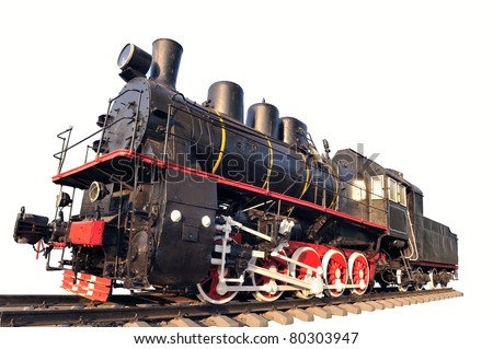 Old locomotive isolated on a white