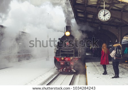 old locomotive stopped at the...