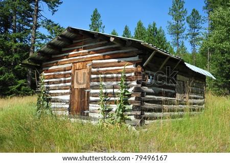 Old Log Cabin In Eastern Washington Stock Photo 79496167
