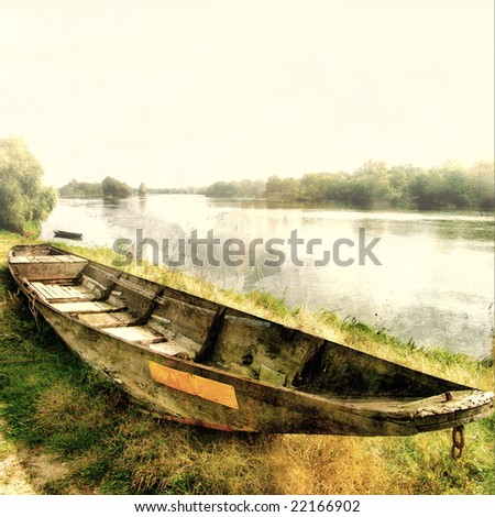 old lonely boat - artwork in pastel colors