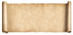 Old long scroll in horizontal position isolated