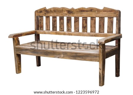 old long wooden chair isolated on white with clipping path #1223596972