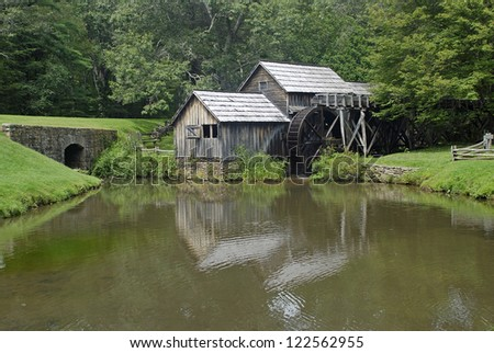 Old Mabry Grist Mill on Blue Ridge Parkway - stock photo