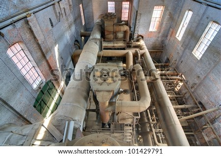 old machinery in a steel mill