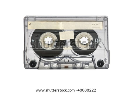 Old magnetic audio tape cassette for music