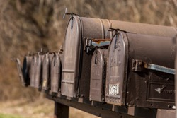 Old mail boxes in a row