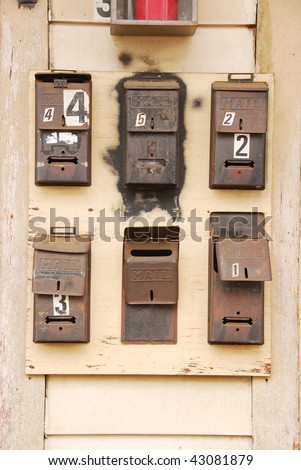old mailboxes on an apartment building in the 400 blk of