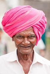 old man close-up rural village Salunkwadi, Beed, Maharashtra, India