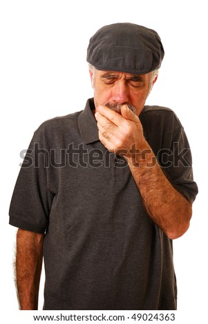 Old man coughing isolated on white