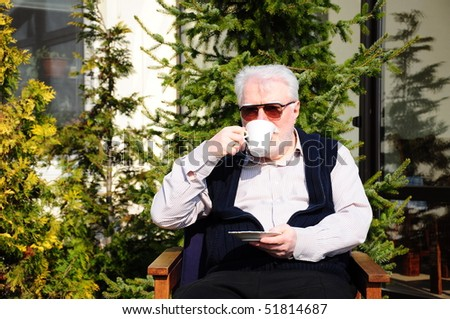 Old Man Drinking Coffee Stock Photo 51814687 Shutterstock
