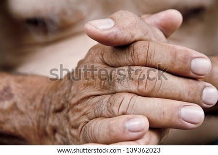 old man hand - stock photo