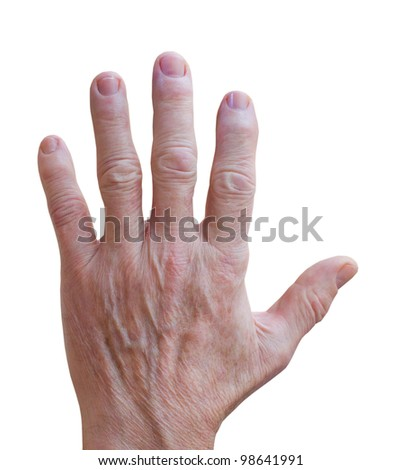 Old man hand over white background. Isolated image