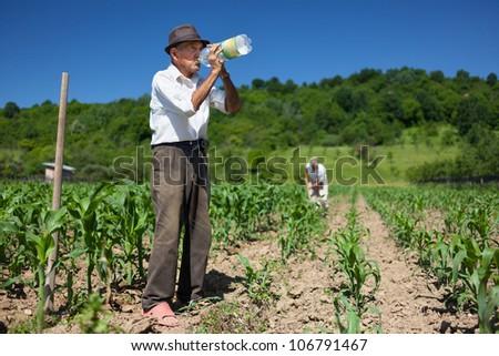 Old man having a break from work, drinking water