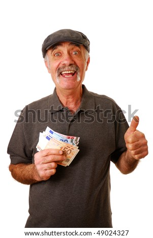Old man holding euro bank notes and giving the thumbs up