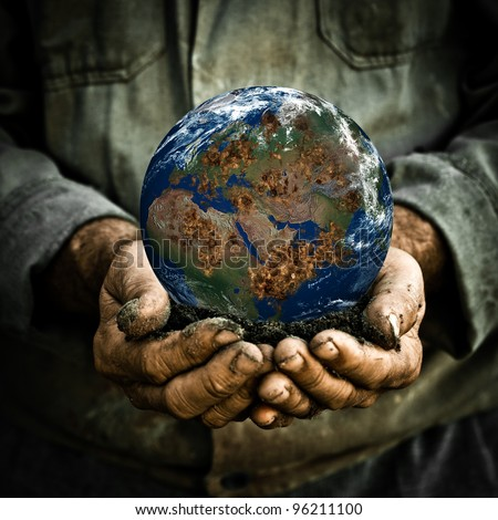 Old man holding the Earth in his hand. Elements of this image furnished by NASA