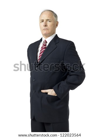 Old man in suit over the white background