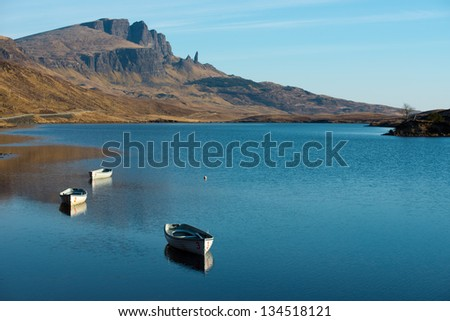 Old Man of Storr over Loch Leathann in the Isle of Skye,Scotland