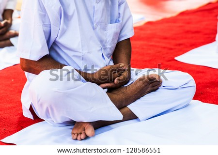 old man on meditation