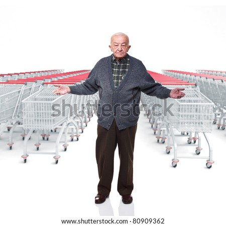 old man open arms and 3d trolley cart background