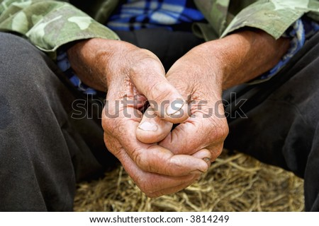 old man´s hand - stock photo