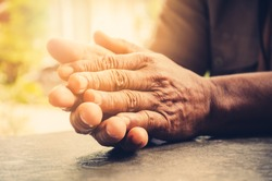 Old man's hand Concept Health care Old age