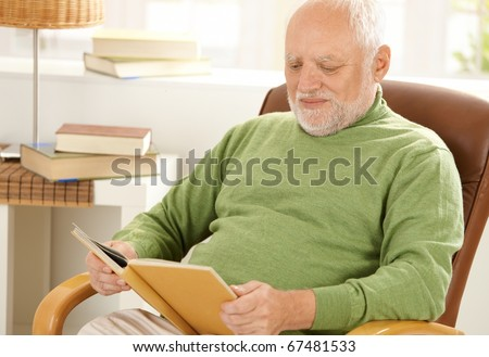 Old man sitting at home reading book in armchair.