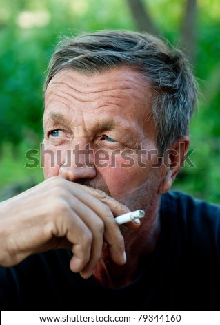 old man smokes