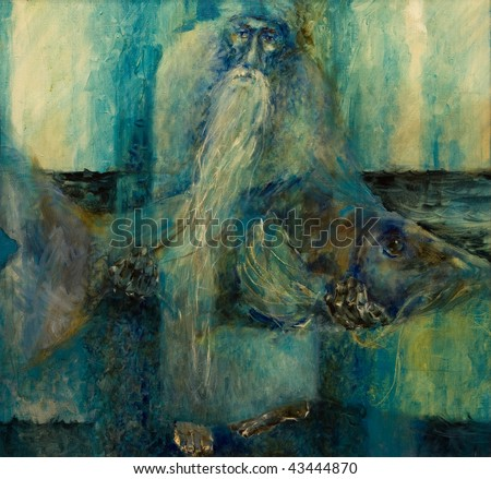 Old man with a white beard holding a huge fish, painting on canvas