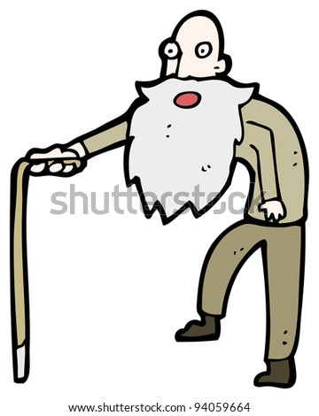 old man with walking stick cartoon (raster version)