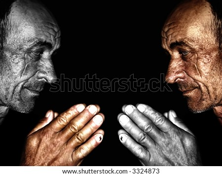 Old man ,wrinkled and sun burned skin,face to face
